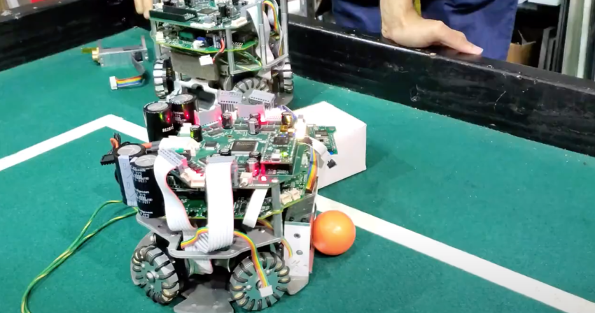 RoboCup robots being tested